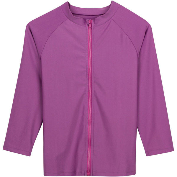 "Tween Girl Rashguard Long Sleeve - ""Cutie Cruiser"" Purple"