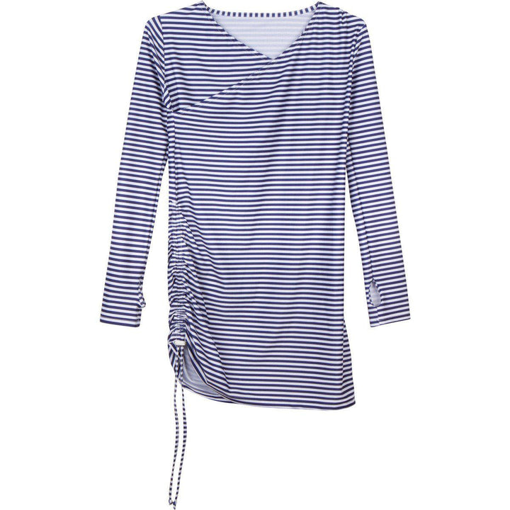 "Women's Sophisticated Swim Dress Cover Up - Navy Stripe ""Stunner"" - SwimZip Sun Protection Swimwear"
