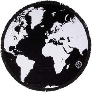 "Round Beach Towel - ""Voyage Around The World"" - SwimZip Sun Protection Swimwear"