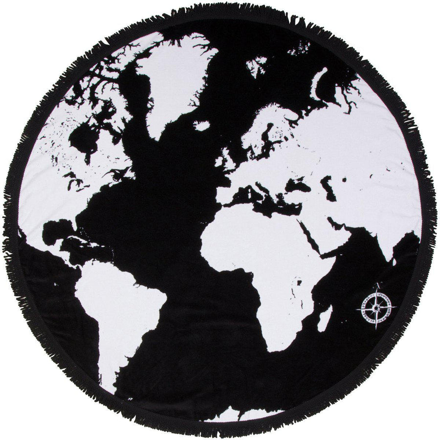 "Round Beach Towel - ""Voyage Around The World""-1 Size-Voyage Around the World-SwimZip UPF 50+ Sun Protective Swimwear & UV Zipper Rash Guards-pos1"