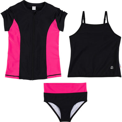 tankini rash guard set black