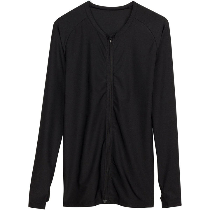 "Womens Plus Size Long Sleeve Rash Guard Shirt - ""All Black"" - SwimZip Sun Protection Swimwear"