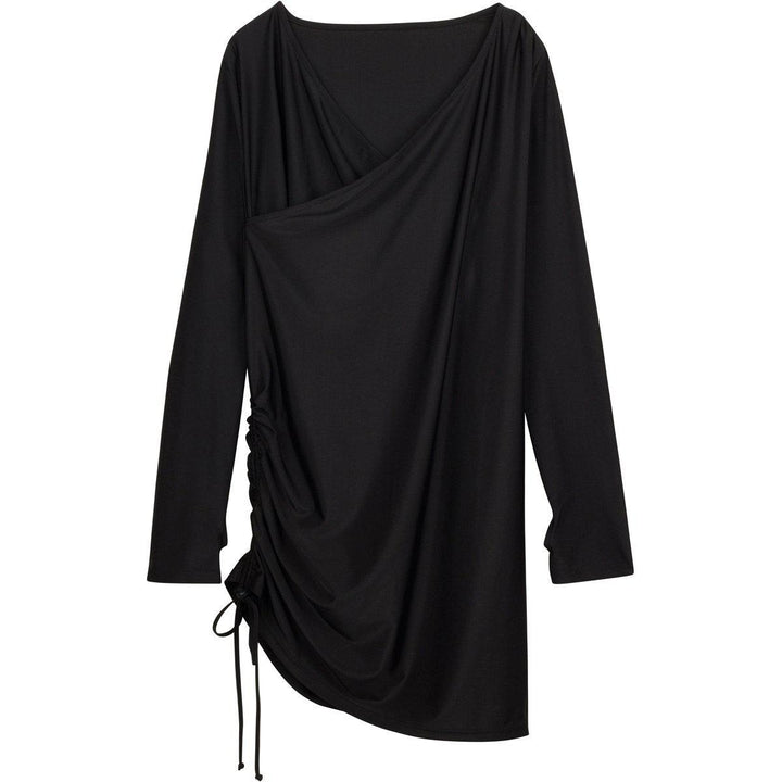 "Women's Sophisticated Swim Dress Cover Up - ""All Black"" - SwimZip Sun Protection Swimwear"