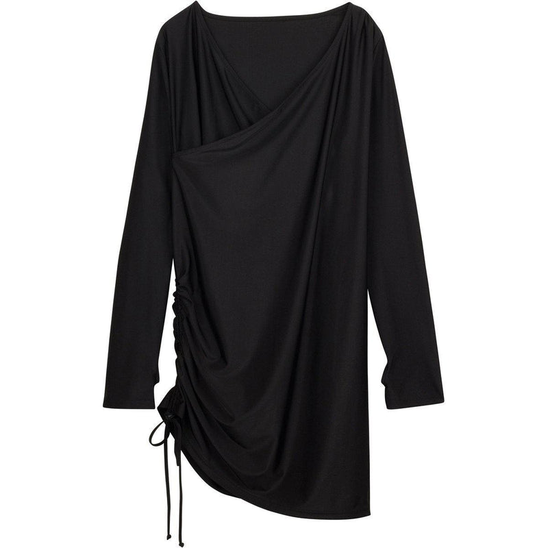 "Women's Sophisticated Swim Dress Cover Up - ""All Black""-XS-Black-SwimZip UPF 50+ Sun Protective Swimwear & UV Zipper Rash Guards-pos1"