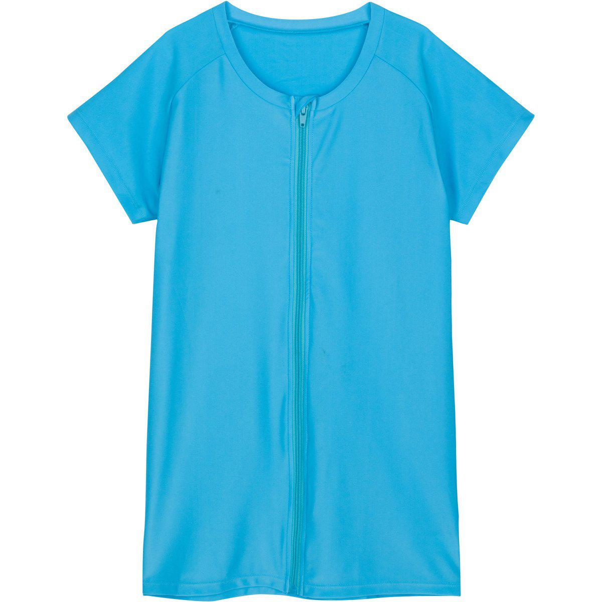 plus size rash guard shirt womens swimzip turquoise