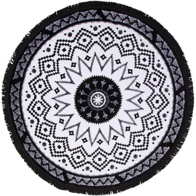 roundie towel black white round towel circle beach tassels