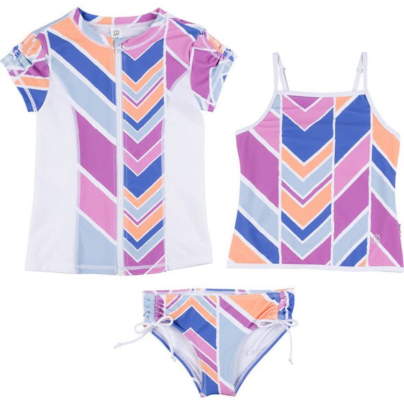 girl tankini three piece set rash guard purple pink tween