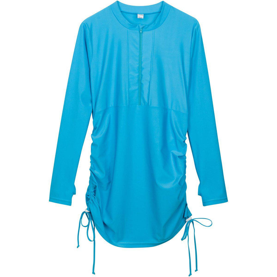 "Women's Essential Swim Dress Cover Up - ""Turquoise Waters"" - SwimZip Sun Protection Swimwear"