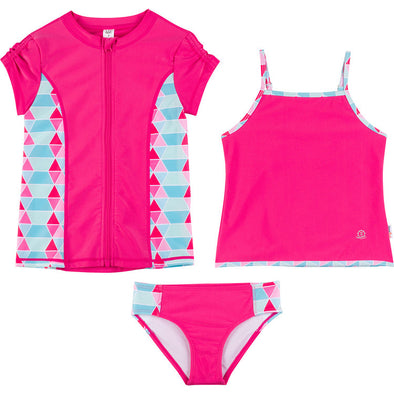 Big Girl Zipper Rash Guard Swimsuit Set UPF 50+ with Tankini | Pool Party
