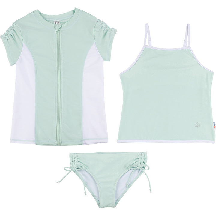 "Big Girl Short Sleeve Rash Guard Swimsuit Set with Tankini - ""Mint Chip"" - SwimZip Sun Protection Swimwear"