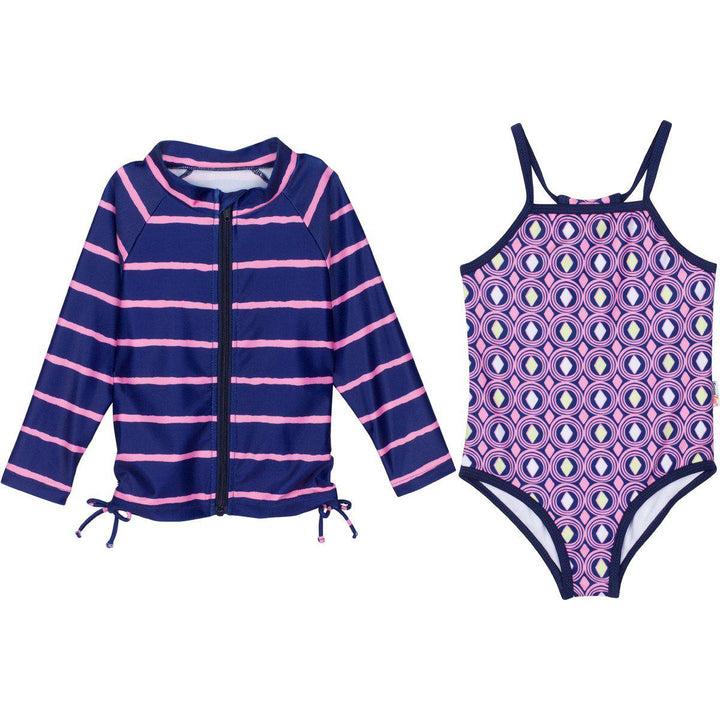 "Little Girl One-Piece Swimsuit and Long Sleeve Rash Guard Set (2 Piece) - ""Diamonds Are Forever"" - SwimZip Sun Protection Swimwear"