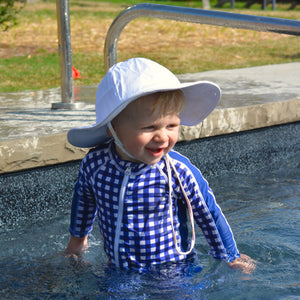 "Sunsuit - Long Sleeve Romper Swimsuit - ""Navy Gingham"" - SwimZip Sun Protection Swimwear"