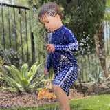 "Boy's Long Sleeve Rash Guard and Swim Trunk Set - ""Navy Gingham""-SwimZip UPF 50+ Sun Protective Swimwear & UV Zipper Rash Guards-pos4"