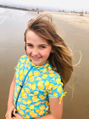 "Girl's Short Sleeve Rash Guard with Tankini + Bikini Bottoms Set (3 Piece) - ""Lemons""-SwimZip UPF 50+ Sun Protective Swimwear & UV Zipper Rash Guards-pos5"