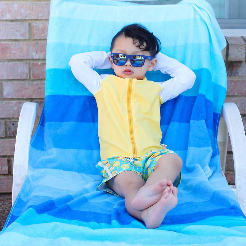 "Boy's Long Sleeve Rash Guard and Swim Trunk Set - ""Lemons""-SwimZip UPF 50+ Sun Protective Swimwear & UV Zipper Rash Guards-pos12"
