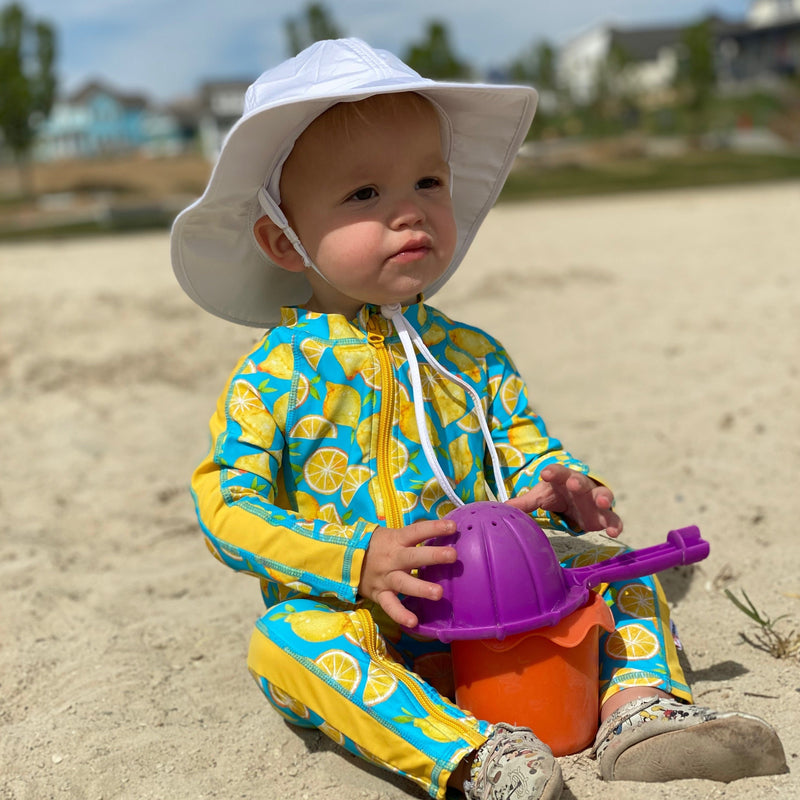 "Kid's Wide Brim Sun Hat ""Fun Sun Day Play Hat"" - White-SwimZip UPF 50+ Sun Protective Swimwear & UV Zipper Rash Guards-pos2"