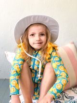 "Kid's Wide Brim Sun Hat ""Fun Sun Day Play Hat"" - White-SwimZip UPF 50+ Sun Protective Swimwear & UV Zipper Rash Guards-pos4"