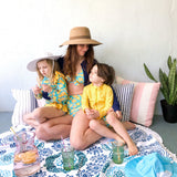 "Round Beach Towel - ""Ocean Blues""-1 Size-Ocean Blues-SwimZip UPF 50+ Sun Protective Swimwear & UV Zipper Rash Guards-pos3"
