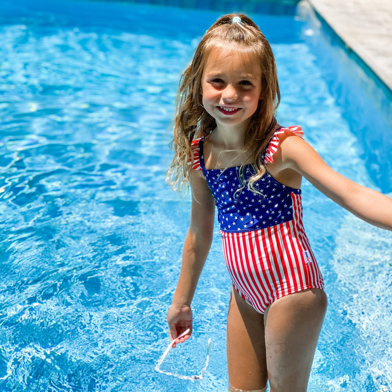 "Girl's Ruffle Strap One Piece Swimsuit - ""Stars and Stripes""-SwimZip UPF 50+ Sun Protective Swimwear & UV Zipper Rash Guards-pos2"