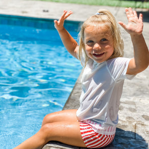 "Kid's Euro Swim Shorties - ""Stars and Stripes"" - SwimZip Sun Protection Swimwear"