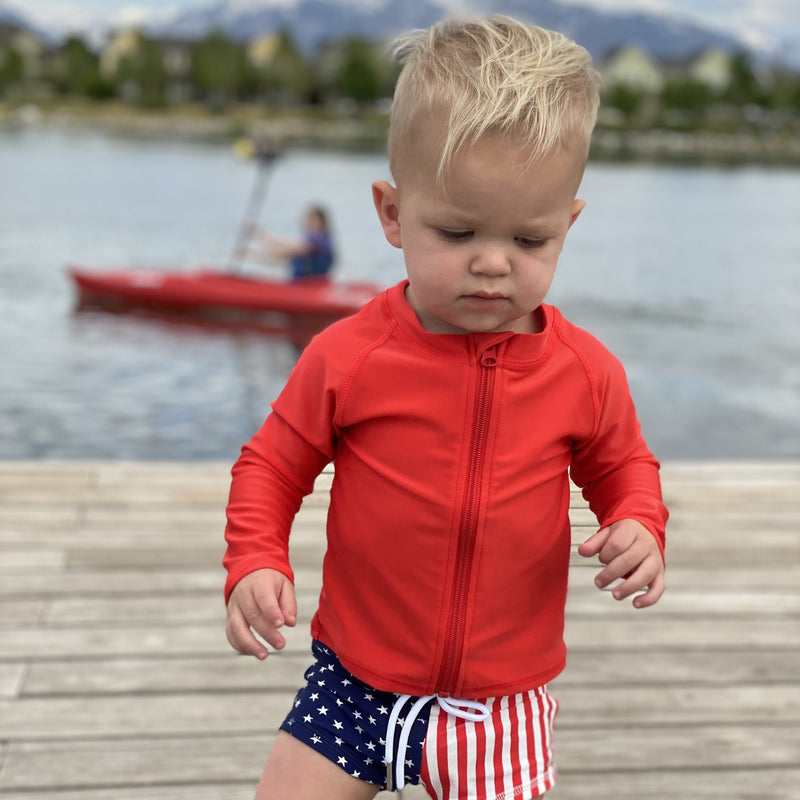 Kid's Rash Guard Long Sleeve Zipper Swim Shirt - Red-SwimZip UPF 50+ Sun Protective Swimwear & UV Zipper Rash Guards-pos4