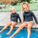 Girl's Long Sleeve Swim Dress Cover Up - Black-SwimZip UPF 50+ Sun Protective Swimwear & UV Zipper Rash Guards-pos12