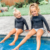 Girl's Long Sleeve Swim Dress Cover Up - Multiple Colors-SwimZip UPF 50+ Sun Protective Swimwear & UV Zipper Rash Guards-pos15