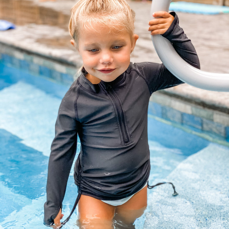 Girl's Long Sleeve Swim Dress Cover Up - Black-SwimZip UPF 50+ Sun Protective Swimwear & UV Zipper Rash Guards-pos13
