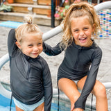 Girl's Long Sleeve Swim Dress Cover Up - Black-SwimZip UPF 50+ Sun Protective Swimwear & UV Zipper Rash Guards-pos11