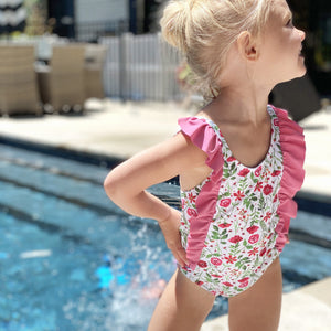 "Girl's ""Too Sweet"" Ruffle One-Piece Swimsuit - ""Floral Garden"" - SwimZip Sun Protection Swimwear"