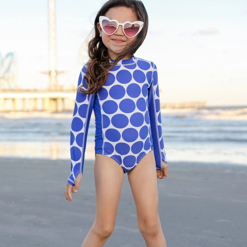 "Girl's Long Sleeve Surf Suit (1 Piece) - ""Oversized Dot""-SwimZip UPF 50+ Sun Protective Swimwear & UV Zipper Rash Guards-pos6"
