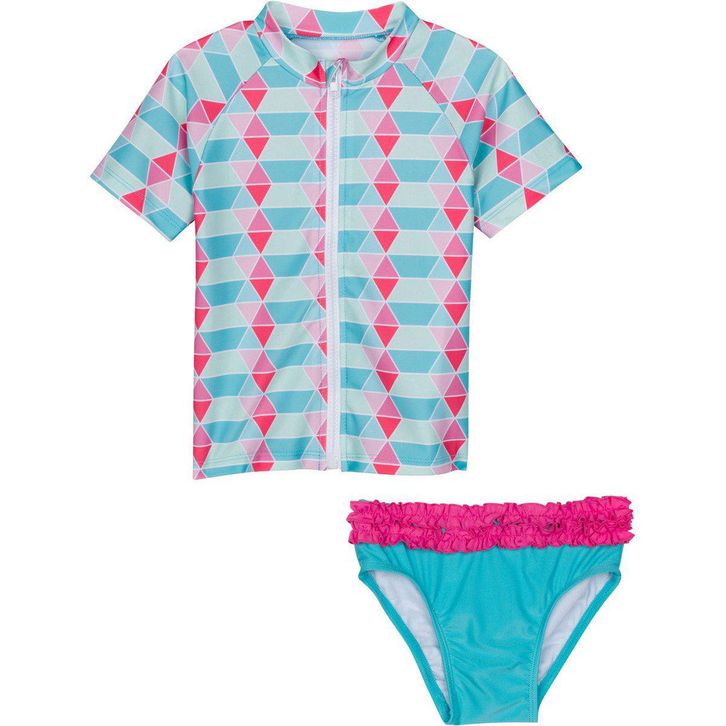 Little Girl Blue Zipper Rash Guard Swimsuit Set Upf 50 Sun