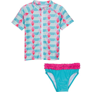 blue ruffle zipper girl rash guard set upf 50 uv sun protection swimzip