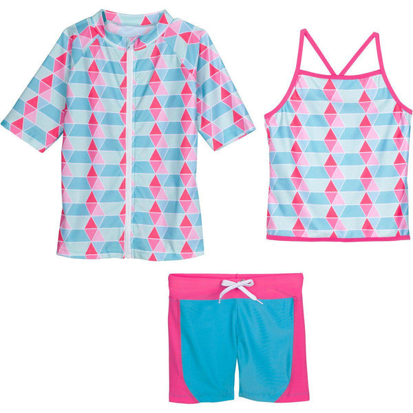 "Tween Teen Girl Short Sleeve Rash Guard Shorts Set UPF 50+ (3 Piece with Tankini) - ""Pool Party"""