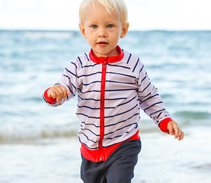 "Boy's Long Sleeve Rash Guard Set - ""Hamptons Get Away"" Red - SwimZip Sun Protection Swimwear"