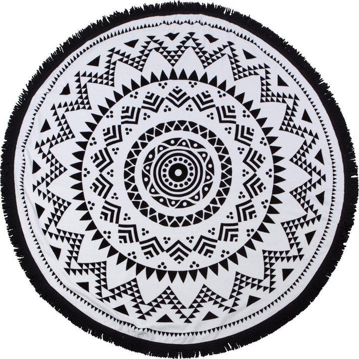 "Round Beach Towel - ""Black Sand Beach"" - SwimZip Sun Protection Swimwear"