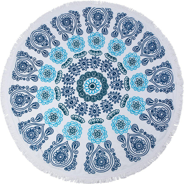 "Round Beach Towel by SwimZip Circle Towels - ""Ocean Blues"" Roundie"