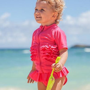 "Girl's Short Sleeve Rash Guard Swimsuit Set - ""Ruffle Me Pretty"" Pink - SwimZip Sun Protection Swimwear"