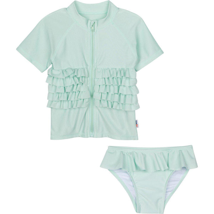 "Girl's Short Sleeve Rash Guard Swimsuit Set - ""Ruffle Me Pretty"" Mint Green - SwimZip Sun Protection Swimwear"
