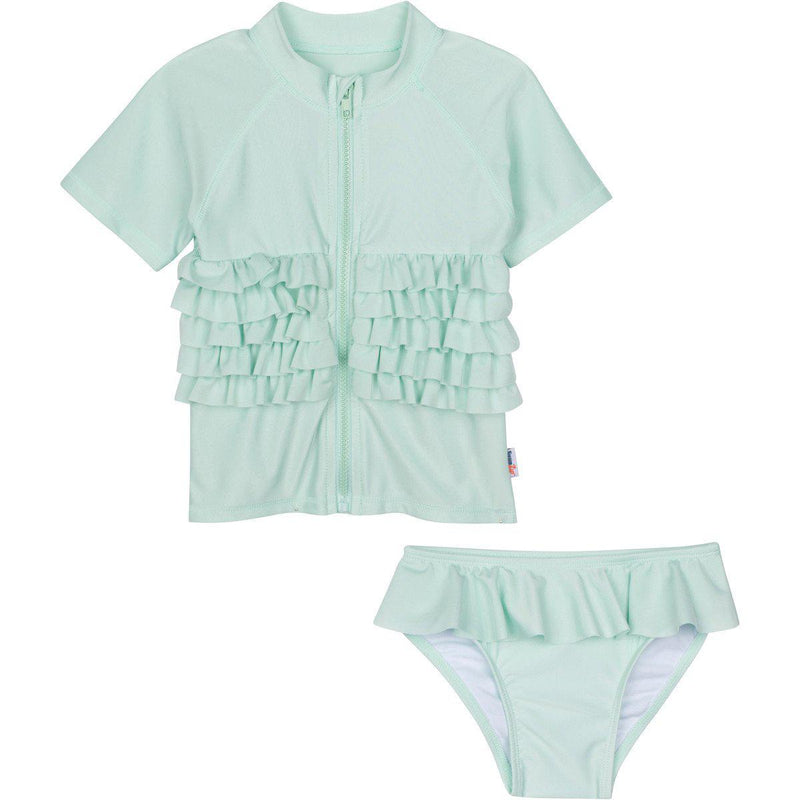 "Girl's Short Sleeve Rash Guard Swimsuit Set - ""Ruffle Me Pretty"" Mint Green-12-18 Month-Mint-SwimZip UPF 50+ Sun Protective Swimwear & UV Zipper Rash Guards-pos1"