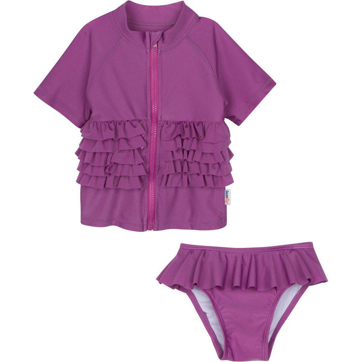 "Girl's Short Sleeve Rash Guard Swimsuit Set - ""Ruffle Me Pretty"" Purple - SwimZip Sun Protection Swimwear"