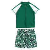 "Boy Short Sleeve Rash Guard Swimsuit and Swim Trunk Set | ""Palm Leaf""-0-3 Month-Palm Leaf-SwimZip UPF 50+ Sun Protective Swimwear & UV Zipper Rash Guards-pos1"