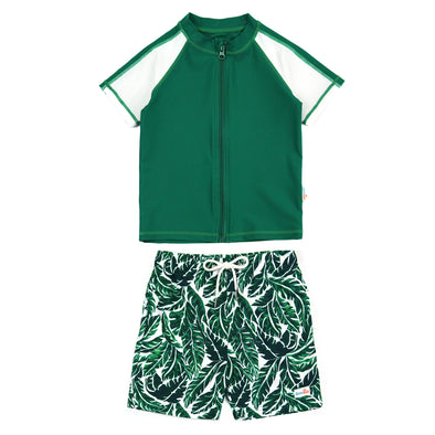 "Boy Short Sleeve Rash Guard Swimsuit and Swim Trunk Set | ""Palm Leaf"""