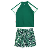 "Boy Short Sleeve Rash Guard Swimsuit and Swim Trunk Set | ""Palm Leaf""-SwimZip UPF 50+ Sun Protective Swimwear & UV Zipper Rash Guards-pos2"