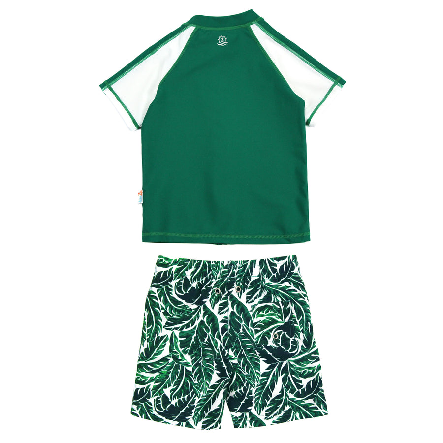 "Boy Short Sleeve Rash Guard Swimsuit and Swim Trunk Set | ""Palm Leaf"" - SwimZip Sun Protection Swimwear"