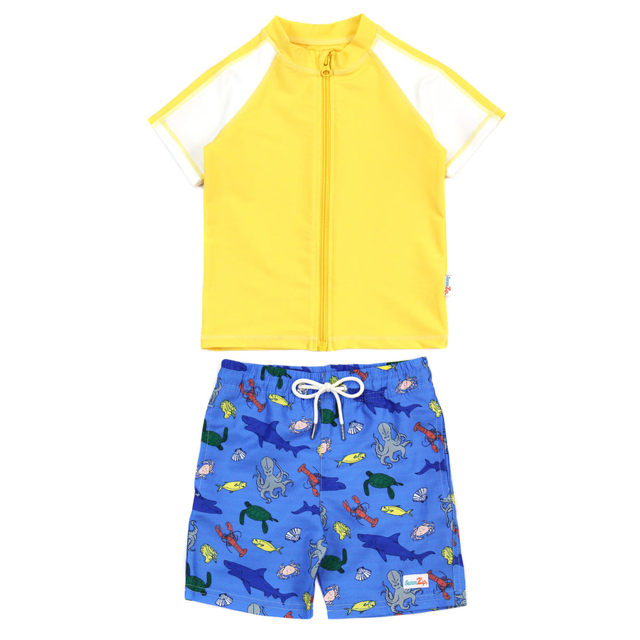 "Boy Short Sleeve Rash Guard Swimsuit and Swim Trunk Set - ""Sea Animal"" - SwimZip Sun Protection Swimwear"