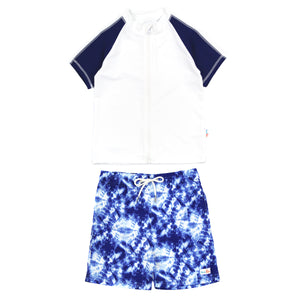 "Boy Short Sleeve Rash Guard Swimsuit and Swim Trunk Set | ""Tie Dye"" - SwimZip Sun Protection Swimwear"