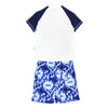 "Boy Short Sleeve Rash Guard Swimsuit and Swim Trunk Set | ""Tie Dye"""