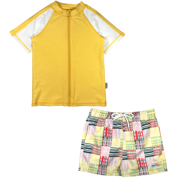 "Boy's Short Sleeve Rash Guard Swimsuit Set & Board Shorts - ""Madras Mania"" - SwimZip Sun Protection Swimwear"
