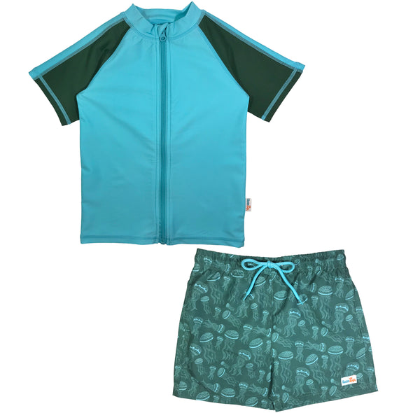 Boy Rash Guard Swimsuit Board Shorts Set UPF 50+ jellyfish blue green